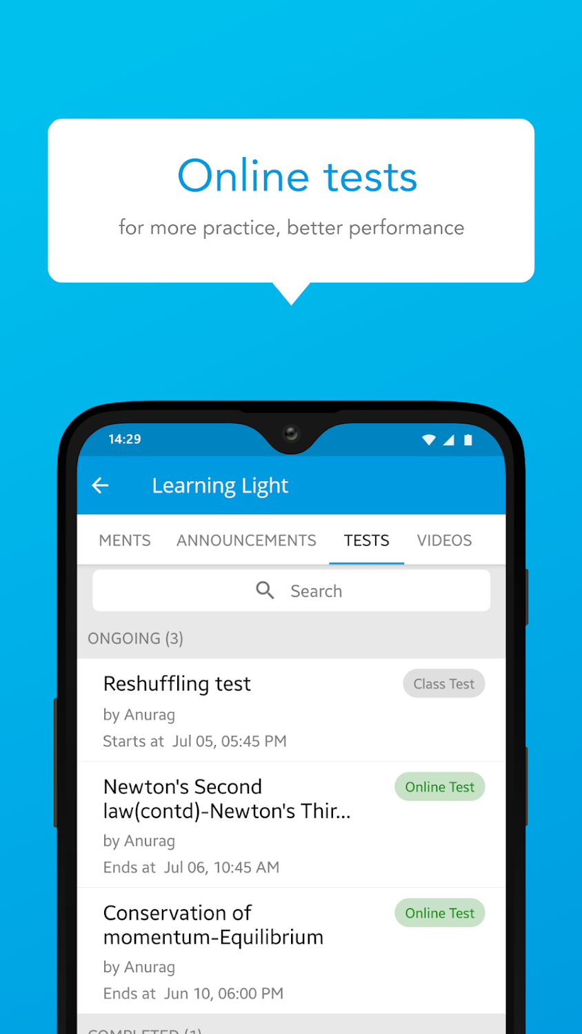 Our online learning app